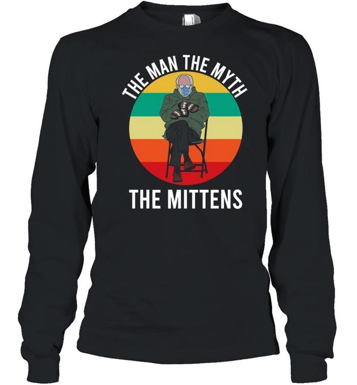 Bernie Sanders The Man The Myth The Mittens 2021 Vintage shirt Long Sleeved T-shirt