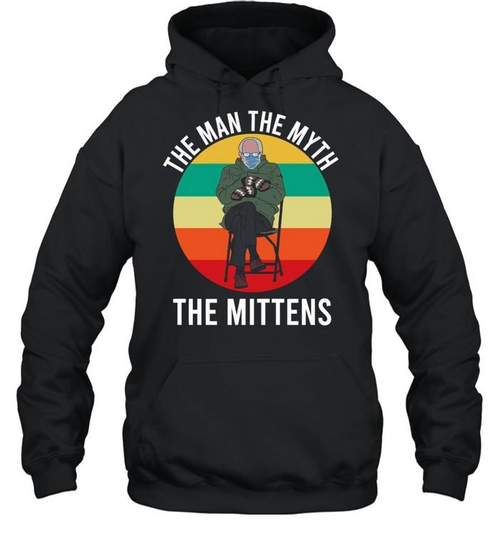 Bernie Sanders The Man The Myth The Mittens 2021 Vintage shirt Unisex Hoodie
