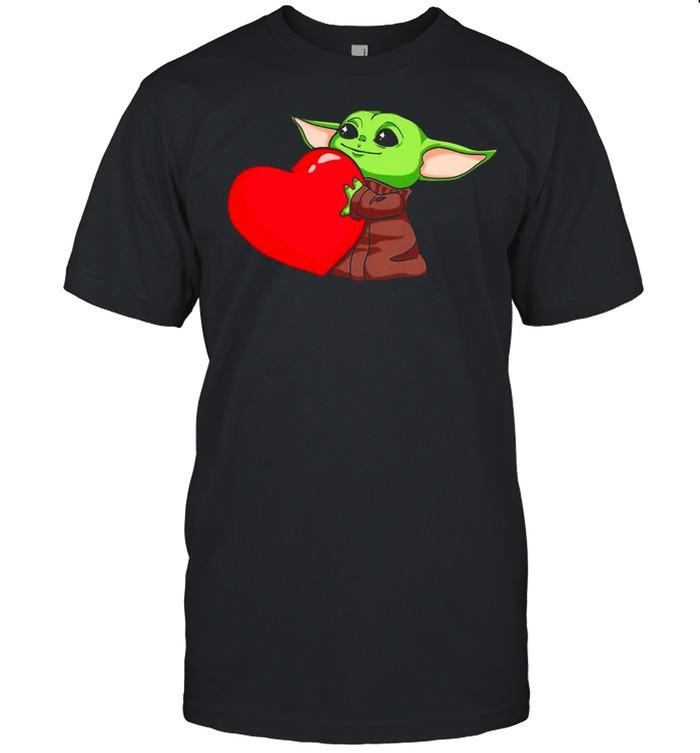 Baby Yoda Cute Hug Heart Happy Valentine 2021 shirt