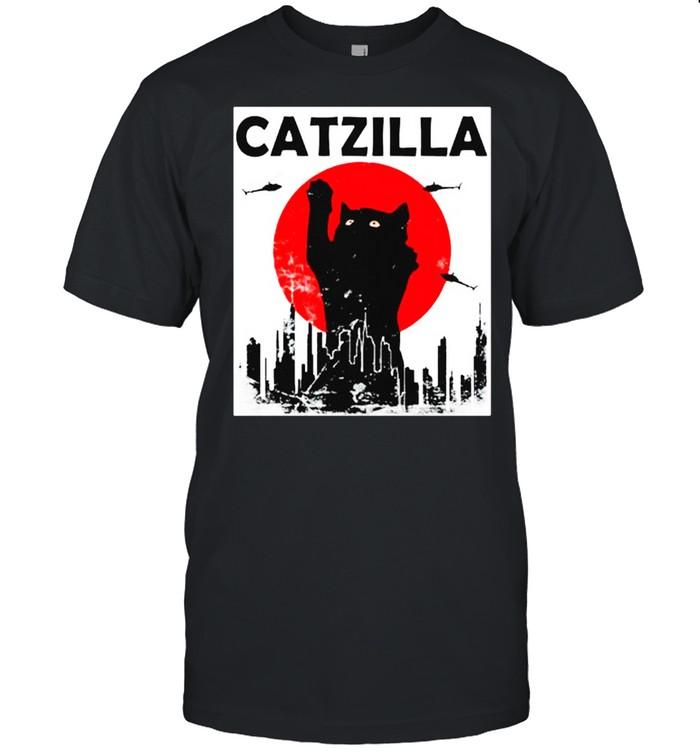 Black Cat Catzilla Sunset shirt
