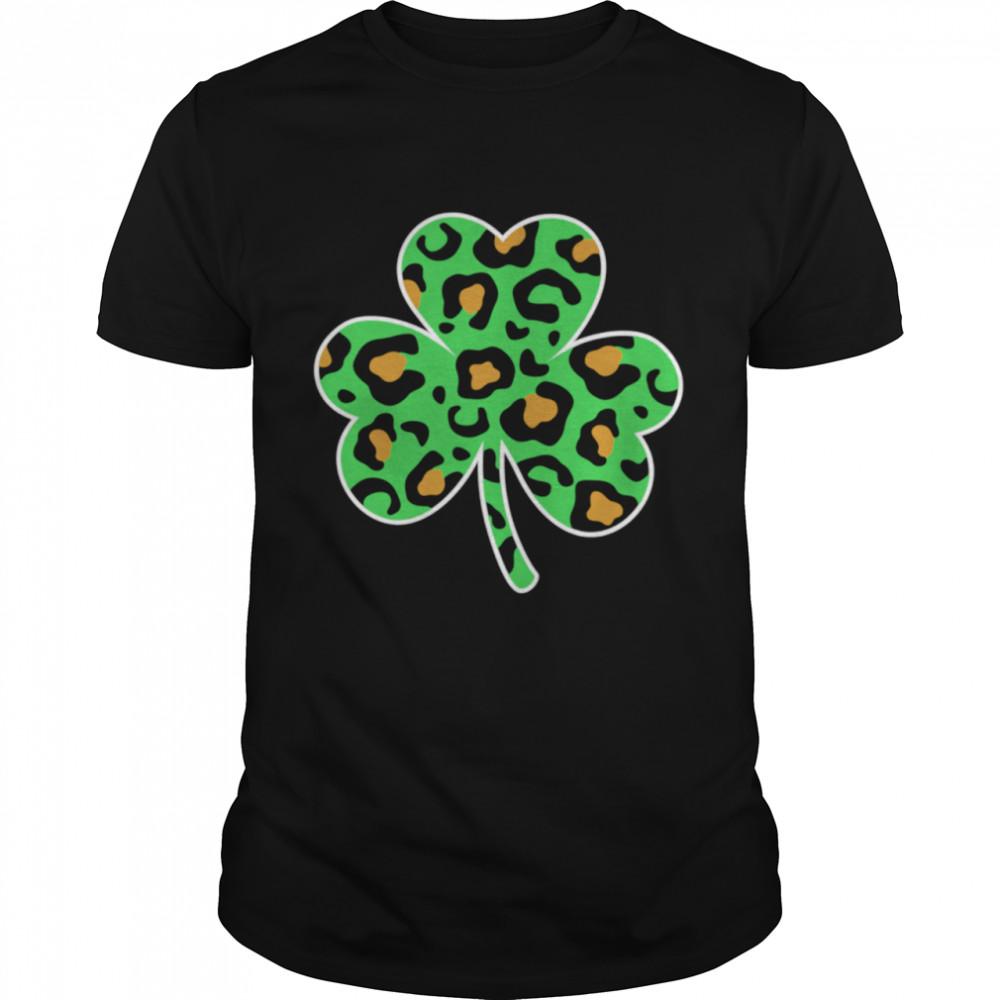 Leopard Print Shamrock Fun Girls St Patricks Day shirt