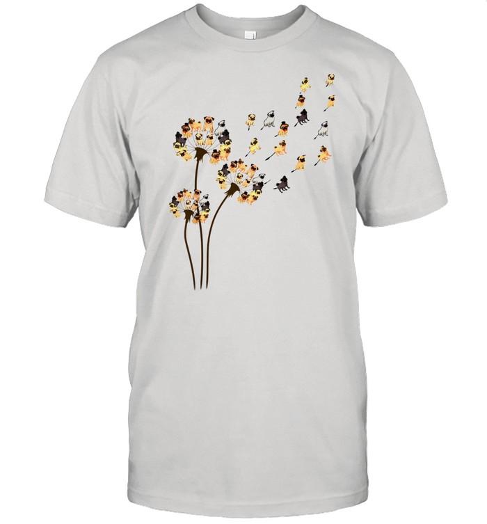 Flower Pug Dogs Dandelion Animalss Wen shirt