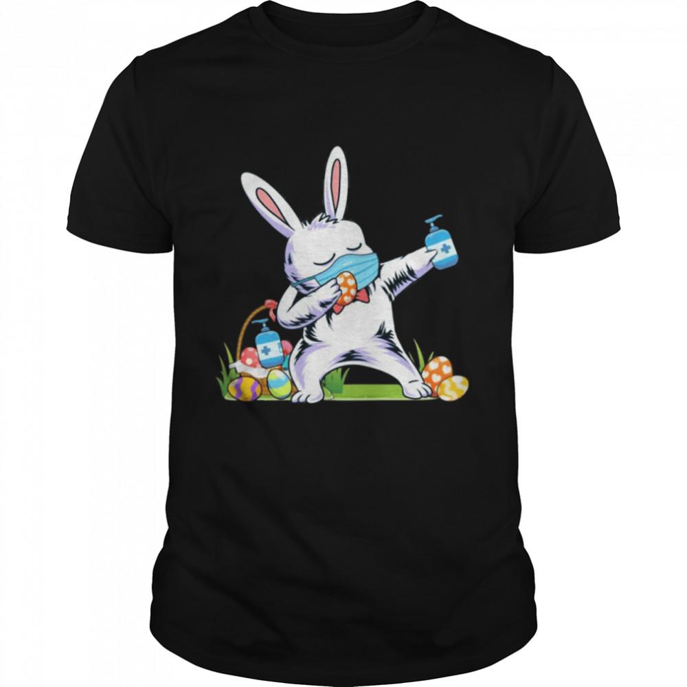 2021 dabbing easter bunny wearing mask shirt