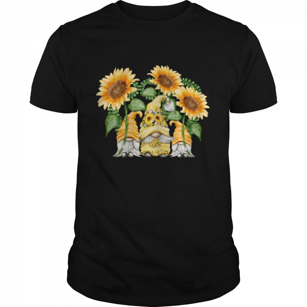 Floral Sunflower Gnome For Hippies & Spring Gardener Gnomie Shirt