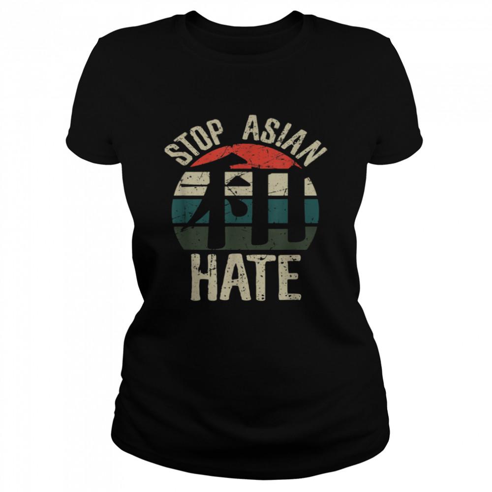 Stop Asian Hate Harmony WA Japanese Kanji Character Retro  Classic Women's T-shirt