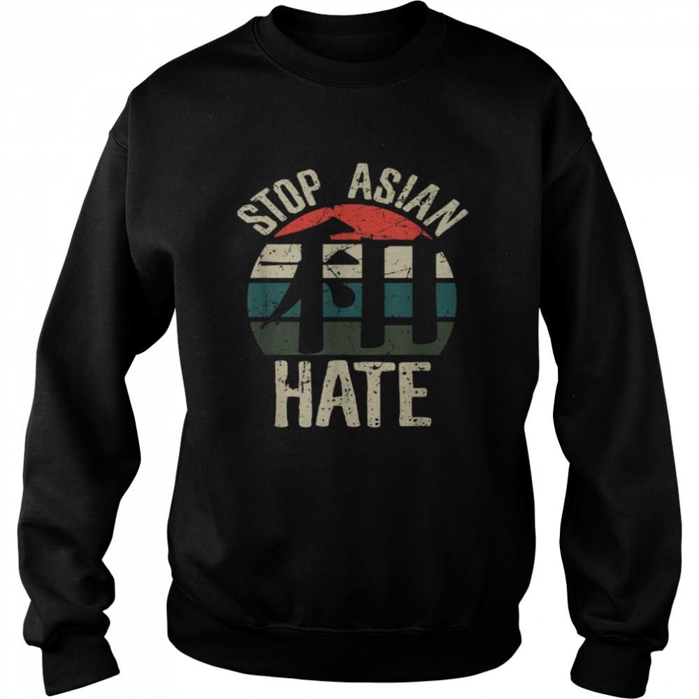 Stop Asian Hate Harmony WA Japanese Kanji Character Retro  Unisex Sweatshirt