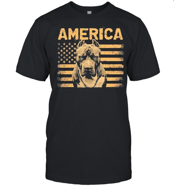 Pitbull American flag shirt