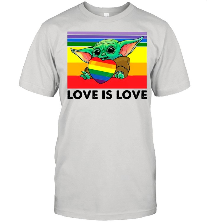 Star Wars Baby Yoda Hug Heart LGBT Love Is Love Vintage shirt