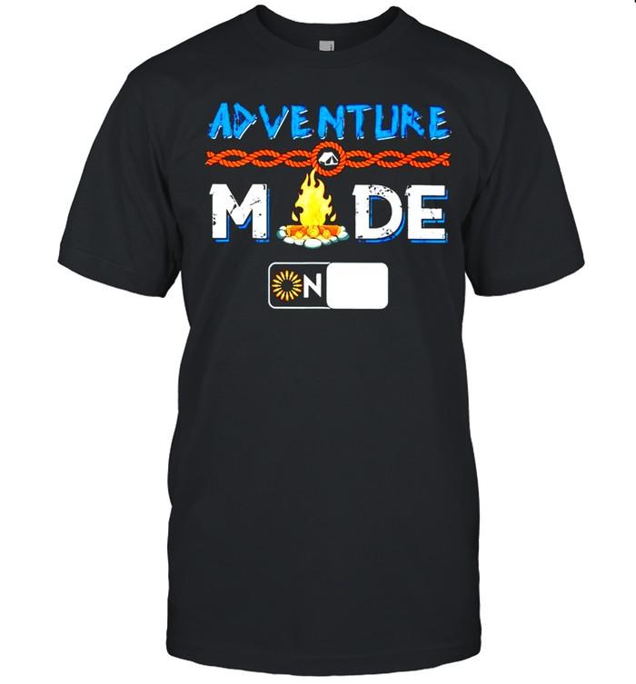 Camping adventure mode on shirt