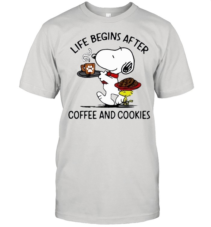snoopy and woodstock life begins after coffee and cookies shirt