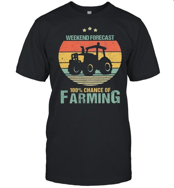 Weekend Forecast 100% Chance Of Farming Vintage Retro shirt