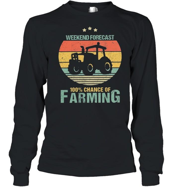 Weekend Forecast 100% Chance Of Farming Vintage Retro shirt Long Sleeved T-shirt