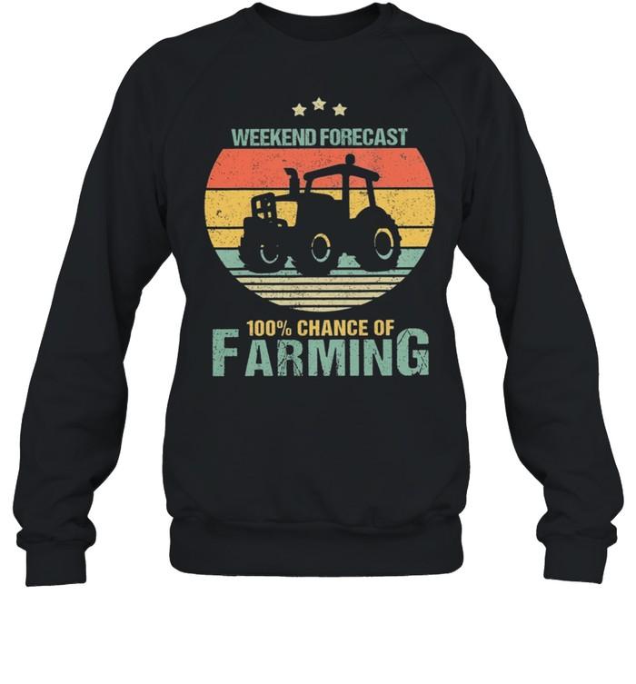 Weekend Forecast 100% Chance Of Farming Vintage Retro shirt Unisex Sweatshirt