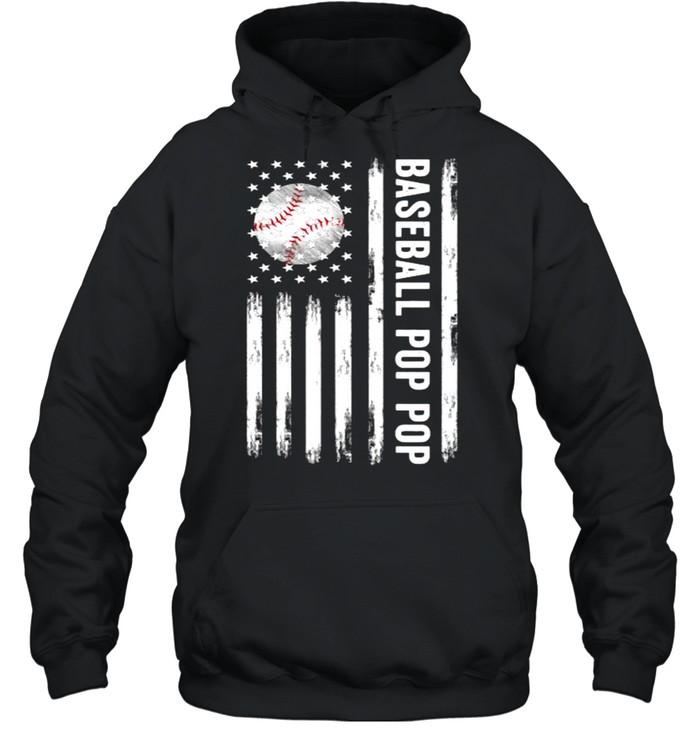 Baseball Pop Pop American flag T- Unisex Hoodie