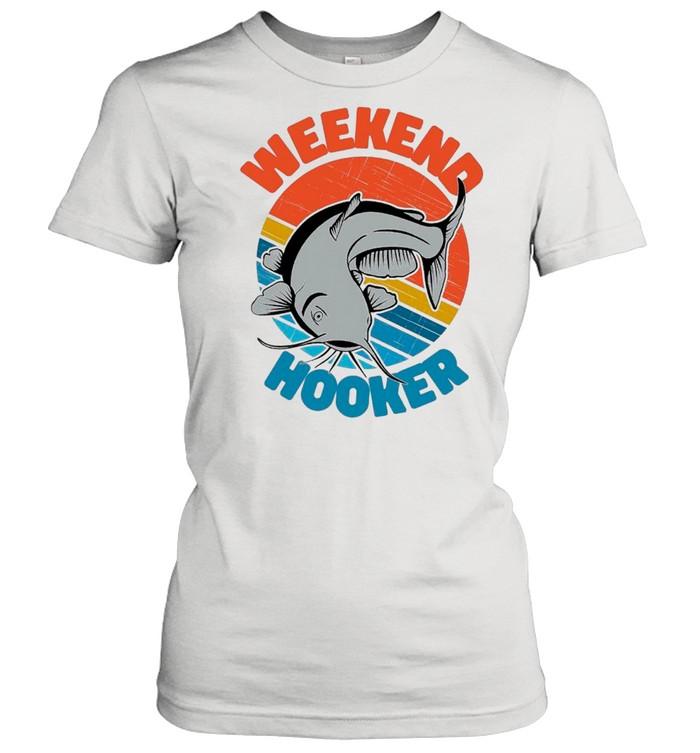 Retro Vintage Fishing Weekend Hooker shirt Classic Women's T-shirt