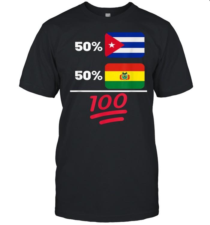 Bolivian Plus Cuban Mix Flag Heritage T-Shirt