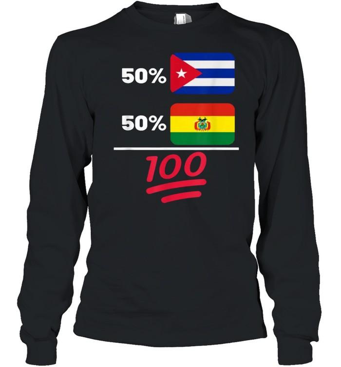 Bolivian Plus Cuban Mix Flag Heritage T- Long Sleeved T-shirt