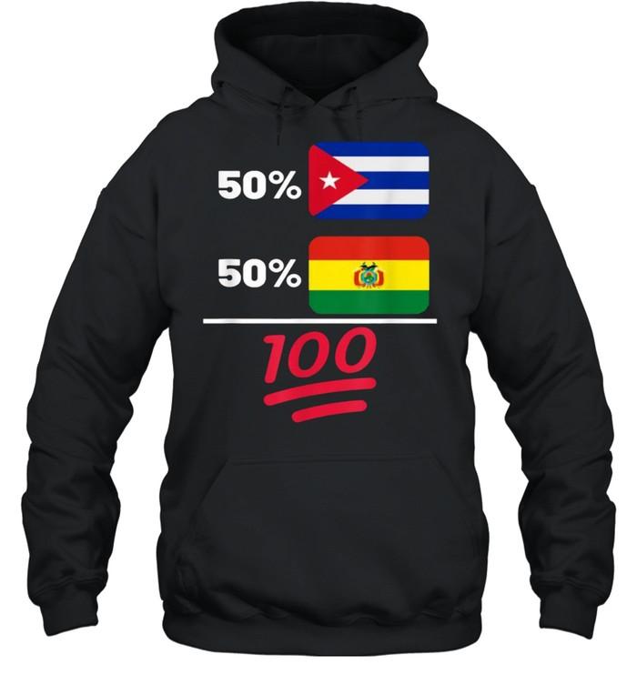 Bolivian Plus Cuban Mix Flag Heritage T- Unisex Hoodie