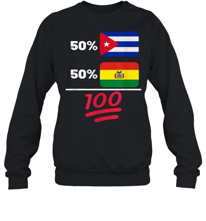 Bolivian Plus Cuban Mix Flag Heritage T- Unisex Sweatshirt
