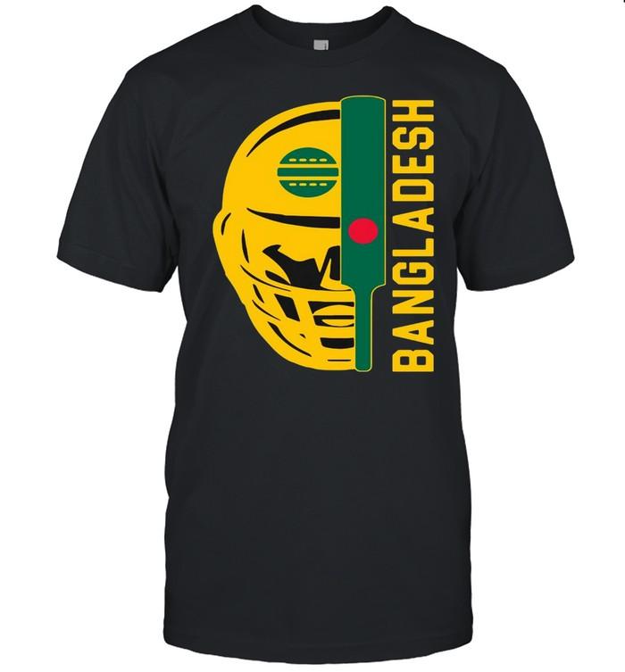 Cricket Bangladesh Fan Helmet Ball And Bat Design T-shirt