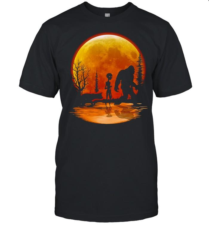 Bigfoot Alien Dog Orange Moon T-shirt